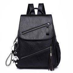 Backpack fashion soft leather women's backpack women's large capacity schoolbag Backpacks & Bookbags black one size