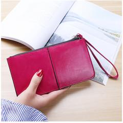 Korean Zipper Purse Women's Long Hand Bag Women's Multi Card  Wallets rose pink one size