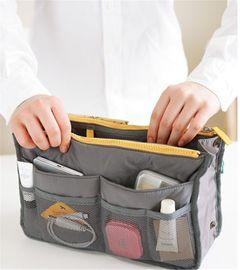 Large Capacity Cosmetic Storage Bag Nylon Travel Insert Organizer  Makeup Bag Handbag Accessories grey one size