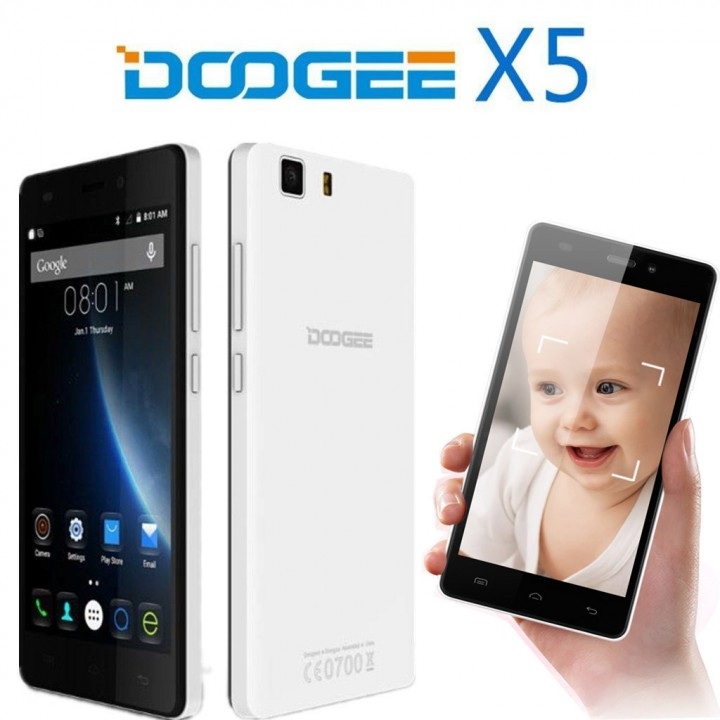 DOOGEE X5, 5 0'', Android 5 1, Quad Core, 1GB RAM, 8GB ROM, Dual SIM, 8 0MP  Camera white