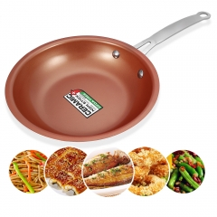 8.5 inch Skillet Frying Pan with Non-stick Coating Induction Compatible Bottom Dishwasher Safe Oven Orange  + Red