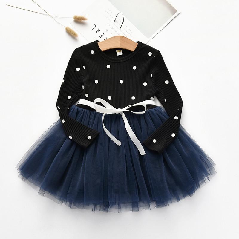 6fcd7b8de23dd D-baby Kid Girls Princess Baby Dress Newborn Infant Baby Girl Clothes Bow  Dot XQ004A black 140(130cm)