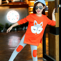 D-baby Autumn girls clothes sets T-shirt+ Pants 2pcs/set full sleeve clothing children active suits XQ012B orange 150(140cm)
