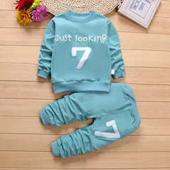 D-baby Boys Clothes Spring Autumn Casual Children Clothing Set Long Sleeve Shirts Pants Kids Suits KM003B aqua green 110cm