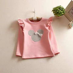 D-baby Baby Girl Clothing Long Sleeve Mikey Mouse Shirt Kids Clothes xq016a pink 100(90cm)