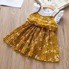 D-baby Summer girl dress Print pattern Children dresses baby girl clothes Short Sleeve dresses XQ020C yellow 90(80cm)