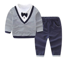 D-baby Baby Boys Autumn Casual Clothing Set Baby Kids Button Letter Bow Clothing Sets BB007A royalblue 100(2-3y)