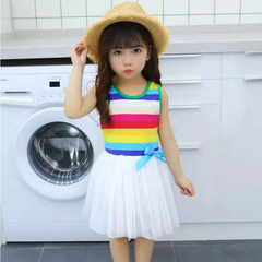 D-baby Promotion Clearance 1PC Princess Girl Rainbow Dress Toddler Baby Kids Summer Dresses XL001B white 100(85cm)