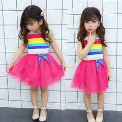D-baby Promotion Clearance 1PC Princess Girl Rainbow Dress Toddler Baby Kids Summer Dresses XL001A Fushcia 120(105cm)