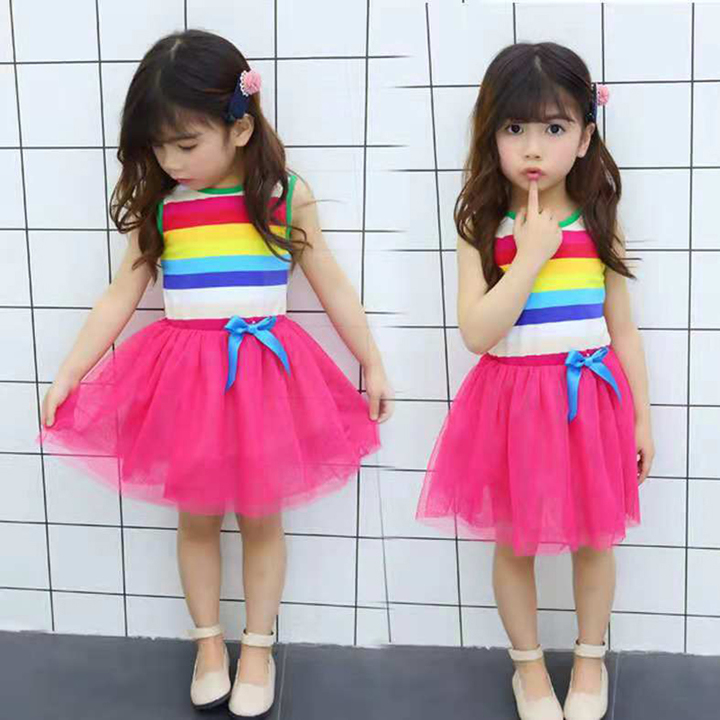 3a5995e78d34 D-baby Promotion Clearance 1PC Princess Girl Rainbow Dress Toddler Baby  Kids Summer Dresses XL001A