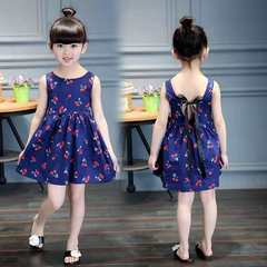 D-baby Promotion Clearance Girl Dress Kids Teenagers Sleeveless Print Pattern Cotton Dresses 19 90(80-90cm)