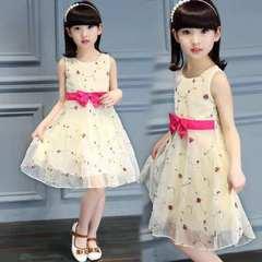 D-baby Girl Princess Dress Flower Girl Lace Dress Kids Wedding dress Birthday Party Stage Dress HM001A yellow 110(100cm)