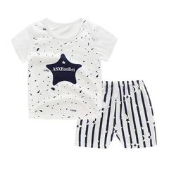 D-baby Promotion Clearance Kids Boy Toddler Shirt Top+Shorts Overalls Set Outfit 2Pcs DZ001A 70(110cm)