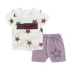 D-baby Promotion Clearance Kids Boy Toddler Shirt Top+Shorts Overalls Set Outfit 2Pcs DZ001D 65(100cm)