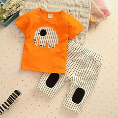 D-baby new fashion baby boys clothes set cotton material with striped print infant clothing set NZ001B 80(75cm)