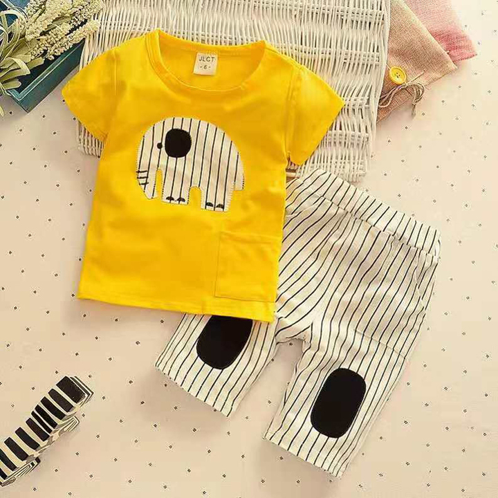 D-baby Promotion Clearance Hot New Fashion Baby Boys Clothes Set Cotton Material Infant Clothing Set NZ001D 110(105CM)