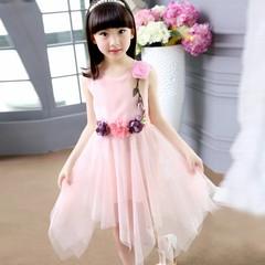 D-baby Girl elegant flower princess dress kids wedding dress party dress performance clothes HM002C pink 110(100cm)