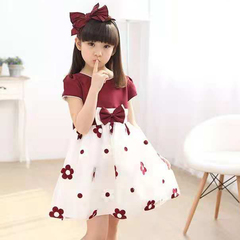 D-baby 1PC Flower Dress Girl Princess Costume Dresses Girl Party Wear Tulle Kids Children dress HM003A wine 120(110cm)