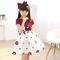D-baby 1PC Flower Dress Girl Princess Costume Dresses Girl Party Wear Tulle Kids Children dress HM003A wine 120(110cm)
