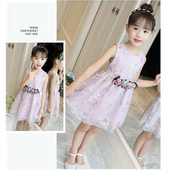 D-baby Flower Girls Dress Sleeveless Tutu Princess Wedding Dress Formal Children Party Dress CL001B pink 140(120cm)