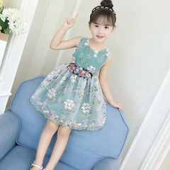 D-baby Flower Girls Dress Sleeveless Tutu Princess Wedding Dress Formal Children Party Dress CL001A aqua 130(110cm)