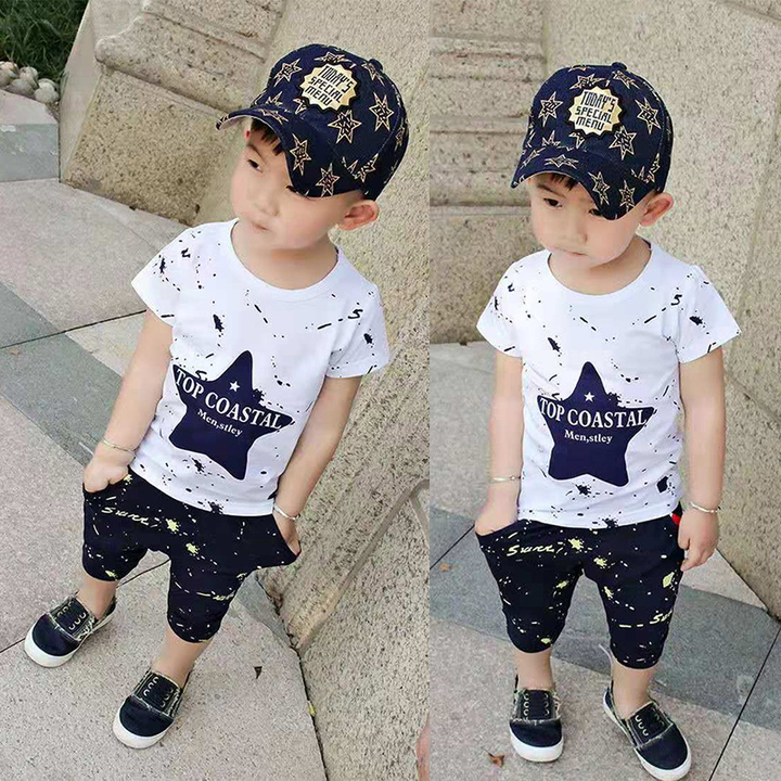 D-baby 2pcs Hot Boys Clothes Star Printed Kids top+Shorts Suits Casual Cotton Children Clothing Set LQ001A royalblue 100cm