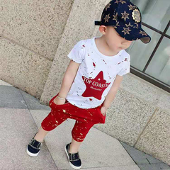 D-baby 2pcs Hot Boys Clothes Star Printed Kids top+Shorts Suits Casual Cotton Children Clothing Set LQ001B red 100cm