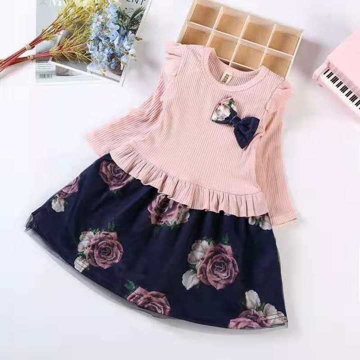 D-baby Princess Kids Baby Girl Dress Lace Floral Party Dress Gown Bridesmaid Dresses BM001B M(70-80cm)