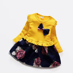 D-baby Princess Kids Baby Girl Dress Lace Floral Party Dress Gown Bridesmaid Dresses BM001A yellow XL(90-100cm)
