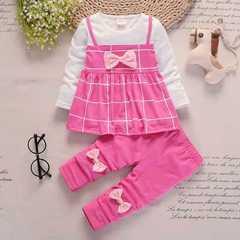 D-baby Autumn girls clothes sets T-shirt+ Pants 2pcs/set full sleeve clothing children active suits JG001A Fushcia 80cm