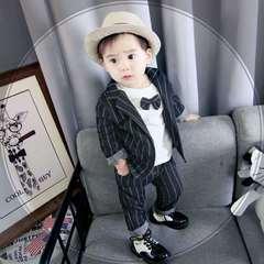 D-baby Boy Gentleman Suit 3PCS Children Official Occasion Costume Set Child Wedding Party Boy wear TA001A black 80(70-80cm)