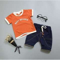 D-baby 2pcs Cute baby boy suit, baby T-shirt + denim shorts baby suit DI001A 73(60-70CM)
