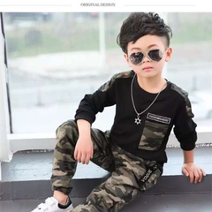 D-baby Cool Big Boy Autumn Boys Sport Suit Children Boys Clothing Set Toddler Casual Kids Clothes XG001A black 120(110cm)