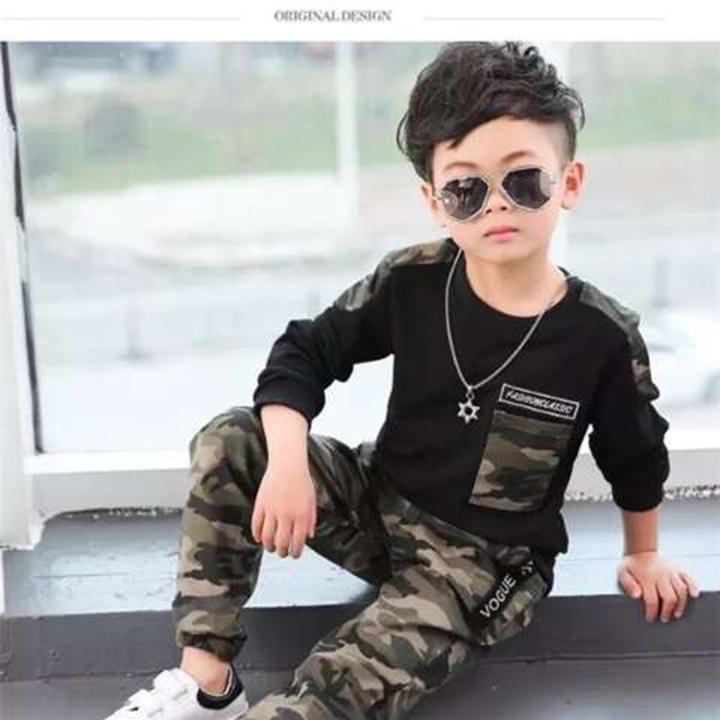 D-baby Cool Big Boy Autumn Boys Sport Suit Children Boys Clothing Set Toddler Casual Kids Clothes XG001A black 120(110cm)