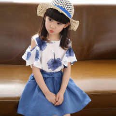 D-baby Toddler Kid Baby Girl Outfits Clothes T-shirt Tops+Skirt 2PCS Sets LL001C blue 110(100cm)