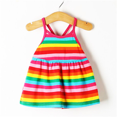 D-baby Promotion Clearance Kid Baby Girl Flower Stripes Dress Sleeveless Bebe Children Clothes TG001A 80(0-6M)
