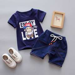 D-baby 2pcs Cute baby boy suit, baby T-shirt + denim shorts baby suit DI002C 100(90-100cm)