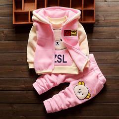 D-baby Kids Thickening Winter Suit Kids Hooded Vest+Sweater+Pants 3 Pcs Children Girls Clothes Set CB005A 73(60-67cm)