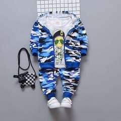 D-baby Kids camouflage Hoodied Jacket+T Shirt+Pants 3 Pcs Children Sport Suits Boys Clothes Set RZ001A 73(60-67cm)