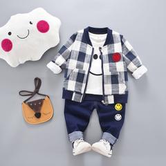D-baby Kids Coat Jacket+T Shirt+Pants 3 Pcs Children Sport Suits Boys Clothes Set RZ002A 80(67-75cm)