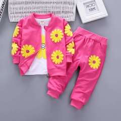 D-baby Kids Coat Jacket+T Shirt+Pants 3 Pcs Children Sport Suits Girls Clothes Set RZ003A 110(95-105cm)