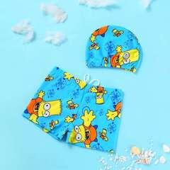 D-baby 2PCS Kids boy's swimsuit, swimming trunks + swimming cap suit YM001A M(80-98cm)