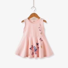 D-baby 1pc Lovely baby kids girl butterfly print sleeveless dress girls dress XQ001B pink 90(80cm)