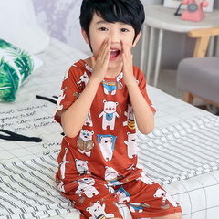 D-baby kids,girls or boys, pajamas, home clothes, lovely comfortable top + shorts suit LN001B 16(140-150cm)