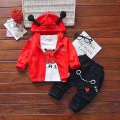D-baby Kids Hoodied Jacket+Shirt+Pants Pure cotton 3Pcs Children Sport Suits Boys Girls Clothes Set CB006A 73(60-67cm)