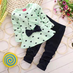 D-baby Hot girls clothes sets T-shirt+ Pants 2pcs/set full sleeve clothing children active suits ZC001C light green (80cm)
