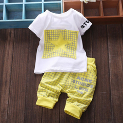 D-baby Infant baby Summer Clothing Sets T-Shirt+Checked Short Kids Boy Clothes ZC003D yellow L(1-2Y)