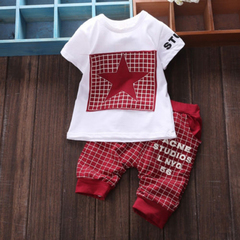 D-baby Infant baby Summer Clothing Sets T-Shirt+Checked Short Kids Boy Clothes ZC003B red S(0-6m)