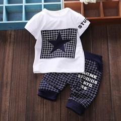D-baby Infant baby Summer Clothing Sets T-Shirt+Checked Short Kids Boy Clothes ZC003A royalblue S(0-6m)