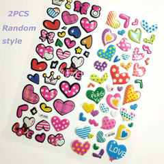 One package one sheet multiple stickers, cartoon character cartoon shape stickers, one random design 2PCS Random style